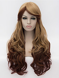 cheap -Synthetic Wig / Cosplay & Costume Wigs Curly / Natural Wave Asymmetrical Haircut Synthetic Hair Natural Hairline Dark Brown Wig Women's Long Capless