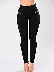 abordables -Mujer Vintage Tiro Alto Ajustado Chinos Pantalones - Un Color