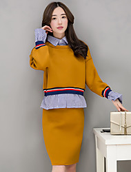 Women's Engagement Daily Office & Career Work & Safety Suit Autumn T-shirt Skirt Suits,Stripe Shirt Collar Long Sleeve Artistic Style N/A