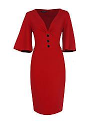 Moulante Robe Femme Soirée / Cocktail Grandes Tailles Vintage,Couleur Pleine V Profond Mi-long ½ Manches Bleu Rouge Polyester Spandex Eté