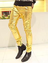 Hombre Casual Tiro Medio Microelástico Ajustado Chinos Pantalones,Un Color Poliuretano Primavera Otoño