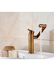 Antique Set de centre Douche pluie Soupape céramique Mitigeur un trou Cuivre antique , Robinet lavabo