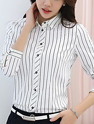 cheap -Women's Going out Casual Spring Summer Shirt,Plaid Stand Long Sleeves Polyester Medium