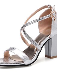 cheap -Women's Shoes PU Spring Summer Fall Comfort Sandals Chunky Heel Block Heel Peep Toe Buckle for Casual Dress Gold Black Silver Pink