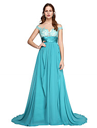 cheap -A-Line Off Shoulder Sweep / Brush Train Chiffon Lace Formal Evening Dress with Lace Sash / Ribbon Pleats by TS Couture®