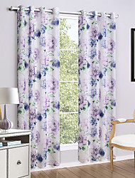 Grommet Top Two Panels Curtain Country , Print Flower Living Room Linen/Polyester Blend Material Curtains Drapes Home Decoration
