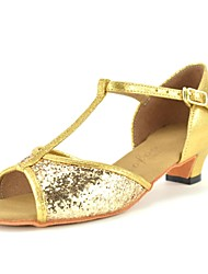 "cheap -Kids' Latin Sparkling Glitter Paillette Leatherette Heel Indoor Sequin Buckle Sparkling Glitter Chunky Heel Gold Silver Red 1"" - 1 3/4"""