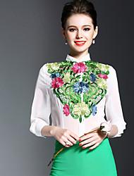 abordables -Mujer Simple Noche Primavera Verano Camisa,Escote Chino Bordado Manga Larga Poliéster