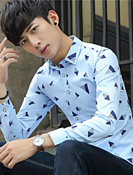Autumn thin section of young British men lapel long-sleeved shirt Slim Korean version of casual printing shirt male students
