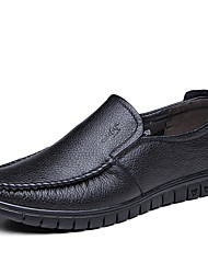 cheap -Men's Leather Shoes Leather Spring / Fall Comfort Loafers & Slip-Ons Waterproof Black / Yellow / Brown / Party & Evening