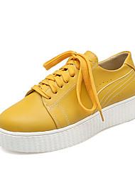 Sneakers-Formale Casual-Comoda-Plateau-Finta pelle-Giallo Bianco Beige
