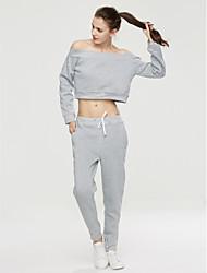 abordables -Mujer Sencillo Casual/Diario Otoño T-Shirt Pantalón Trajes,Escote Barco Un Color Manga Larga Microelástico