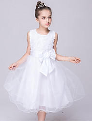 Ball Gown Tea Length Flower Girl Dress - Organza Sleeveless Jewel Neck with Bow(s) by YDN