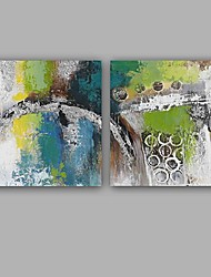 baratos -Pintados à mão Abstrato Quadrada, Estilo Europeu Modern Tela de pintura Pintura a Óleo Decoração para casa 2 Painéis