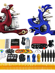 cheap -Tattoo Machine Professional Tattoo Kit - 2 pcs Tattoo Machines, Professional LCD power supply 2 cast iron machine liner & shader