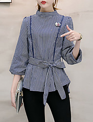 cheap -Women's Work Vintage Lantern Sleeve Shirt - Striped