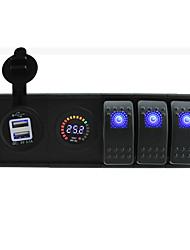 DC 24V LED Digital voltmeter 3.1A USB Socket with toggle rocker switch jumper wires and housing holder