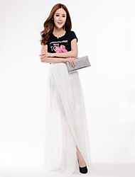 cheap -Daily Maxi Skirts,Street chic Swing Polyester Solid Spring Summer