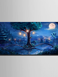 cheap -E-HOME Stretched LED Canvas Print Art The Woods Of The Bridge LED Flashing Optical Fiber Print One Pcs