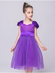 Ball Gown Tea Length Flower Girl Dress - Organza Short Sleeves Off-the-shoulder with Ruching by YDN