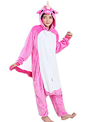Kigurumi Pajamas Flying Horse Costume Fuschia Flannel Cosplay Costumes Leotard / Onesie Cosplay Festival / Holiday Animal Sleepwear