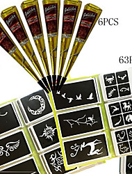 cheap -6 pcs Black Henna + 63PCS Full Stencil, Mehndi Body Art Set, Tattoo Paste Cones Sexy