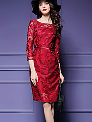 Women's Lace Casual/Daily / Party Street chic Shift Dress,Solid Round Neck Knee-length ¾ Sleeve Blue / Red Polyester