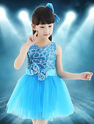 Devemos vestir as crianças de dança de balé splicing 1 peça de vestido de dança latina
