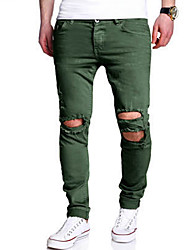 cheap -Men's Mid Rise Micro-elastic Slim Jeans Chinos Pants,Casual Solid Cotton Spring Summer All Seasons