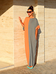 cheap -Women's Casual Loose Shift Dress - Color Block Maxi