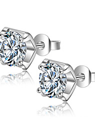cheap -Stud Earrings AAA Cubic Zirconia Sterling Silver Jewelry Wedding Party Daily Casual Costume Jewelry