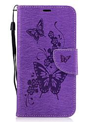 preiswerte -Hülle Für Huawei P9 Lite / Huawei Geldbeutel / Kreditkartenfächer / mit Halterung Ganzkörper-Gehäuse Schmetterling Hart PU-Leder für P10 / Huawei P9 Lite / Mate 9