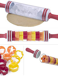 cheap -Progressive Roll and Store Polling Pin Non-Stick Rolling Pin with 9 Packs Cake Moulds Mold Roll and Store 46cm Roller Stick BPA Free Decorating Tools