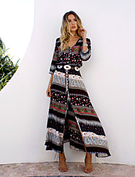 cheap -Women's Beach Boho Cotton Tunic Dress - Graphic, Split Print Maxi V Neck