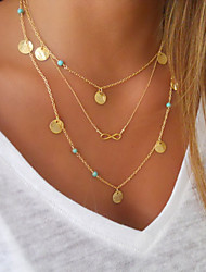 Layered Necklaces Jewelry Round Infinity Alloy Unique Design Dangling Style Tassel Double-layer Fashion Costume Jewelry Jewelry For