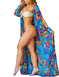 cheap -Women's Beach Holiday Vintage Sexy Spring Fall Cloak/Capes,Print Cowl Long Sleeve Long Polyester Cut Out