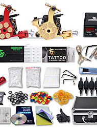 cheap -Complete Tattoo Kit 2 Cast Iron Machines Liner & Shader 2 Tattoo Machines LCD power supply Inks Shipped Separately