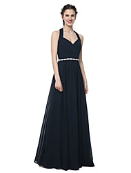 A-Line Halter Floor Length Chiffon Bridesmaid Dress with Beading Sash / Ribbon Pleats by LAN TING BRIDE®