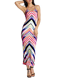 Women's Going out Holiday Sexy Street chic Sheath DressPatchwork Slim Beach Backless Criss-Cross Strap Maxi Sleeveless Summer Mid Rise