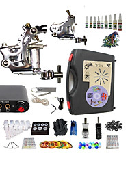 cheap -Starter Tattoo Kit 2 steel machine liner & shader Tattoo Machine Mini power supply 10 × 5ml Tattoo Ink 2 x aluminum grip