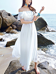 Women's Off The Shoulder|Ruffle Beach Holiday Boho Strapless Chiffon Dress Solid Ruffle Boat Neck Maxi Sleeveless White Summer High Rise Inelastic
