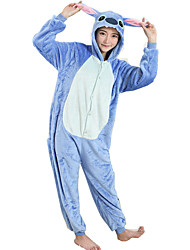 cheap -Kigurumi Pajamas Blue Monster Cartoon Onesie Pajamas Costume Flannel Toison Blue Cosplay For Animal Sleepwear Cartoon Halloween Festival