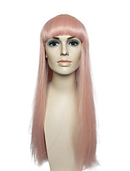 Pink Long Straight Wig Capless Costume Cosplay Wigs Hairstyle Women Party Wig with Cap
