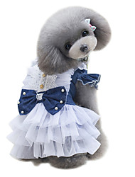 Dog Dress Dog Clothes Summer British Cute Fashion Classic Dark Blue Light Blue