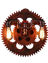 2 Heads Vintage Industrial Wall Lights Wood Gear Shape Lights Restaurant Cafe Bar Decoration Wall Sconces