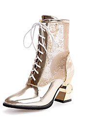 cheap -Women's Boots Spring Summer Fall Comfort Gladiator Club Shoes Tulle PU Wedding Casual Party & Evening Spool Heel Lace-up Gold White Silver