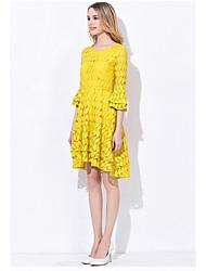 длинные юбки края весной 2017 новый женский пригородный простой моды рукав лотоса тонкий был тонкий платье кружева