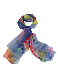 cheap -Women's Silk Chiffon Rectangle,Vintage Casual Spring Summer All Seasons Blue