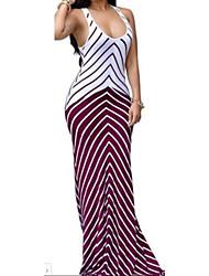 cheap -Women's Beach Holiday Boho Bodycon Sheath Dress - Striped High Rise Maxi U Neck