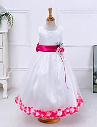 Girl's Print Dress,Cotton Polyester Summer Sleeveless Floral White